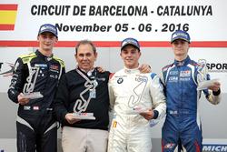 Podium: Race winner Dorian Boccolacci, Teo Martin Motorsport; second place Ferdinand Habsburg, Drivex School; third place Colton Herta, Carlin Motorsport