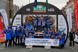 The Volkswagen Motorsport team celebrate