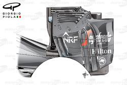 Plaque d'extrémité de l'aileron arrière de la McLaren MP4-31, en Autriche