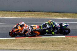 Marc Marquez, Repsol Honda Team, overtakes Valentino Rossi, Yamaha Factory Racing
