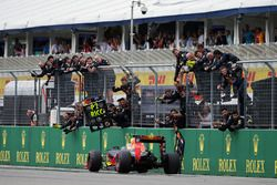 Daniel Ricciardo, Red Bull Racing RB12 celebrates his second position at the end of the race