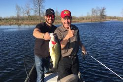 Furniture Row Racing driver Martin Truex, Jr. and Bass Pro Shops founder/CEO Johnny Morris on a rece