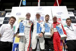 Podium: Race winner George Russell, HitechGP, Dallara F312 - Mercedes-Benz; second place Joel Eriksson, Motopark, Dallara F312 - Volkswagen; Mikkel Jensen, kfzteile24 Mücke Motorsport, Dallara F312 - Mercedes-Benz; Sebastian Trinks, Race Field Engineer of Hankook Tire Europe and Allan McNish