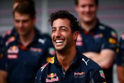 Daniel Ricciardo and the Red Bull Racing team celebrate for Daniel's 100th F1 Grand Prix