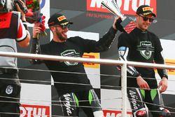 Podium: second place Tom Sykes, Kawasaki Racing, race winner Jonathan Rea, Kawasaki Racing