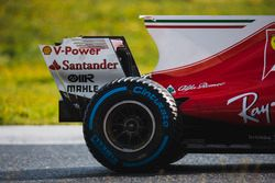 Kimi Raikkonen, Ferrari SF70H, Pirelli rear wheel, shark fin, and rear wing detail