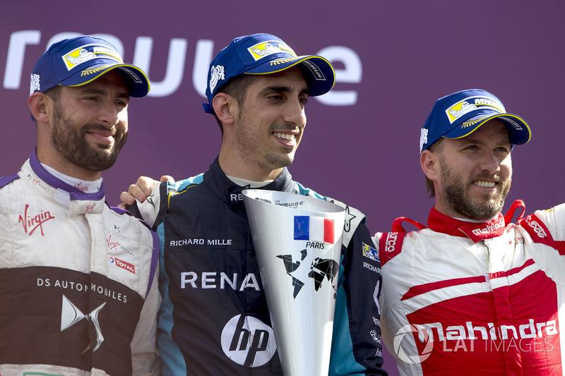 Sébastien Buemi, Renault e.Dams, celebra con José María López, DS Virgin Racing y Nick Heidfeld, Mah