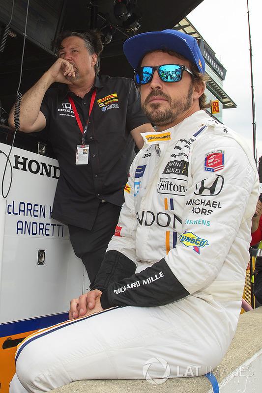 Team owner Michael Andretti with driver Fernando Alonso, Andretti Autosport Honda