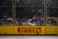 Les fans regardent la course avec des parapluies
