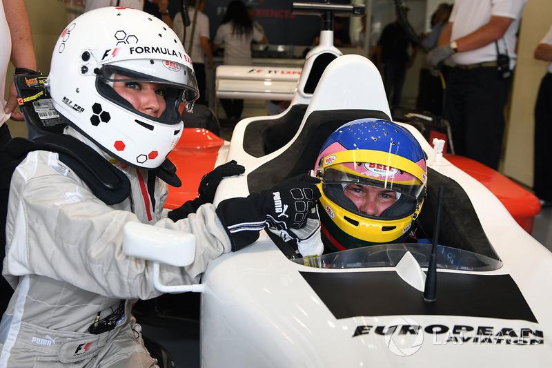 Jacques Villeneuve, F1 Experiences 2-Seater Driver and Federica Masolin, Sky Italia Presenter