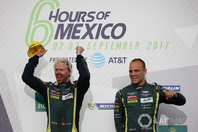 Podium GTE Pro: Winner #95 Aston Martin Racing Aston Martin Vantage: Nicki Thiim, Marco Sorensen