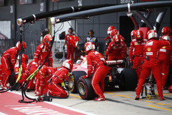 Sebastian Vettel, Ferrari SF70H, exits the pits from his first stop