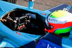 Oliver Turvey, NEXTEV TCR Formula E Team, with in his car.