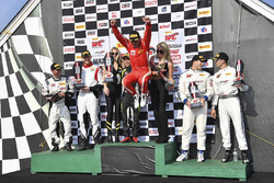 Podium: race winners Daniel Mancinelli, Andrea Montermini, TR3 Racing, second place Michael McCann, Mike Skeen, McCann Racing, third place Michael Cooper, Jordan Taylor, Cadillac Racing