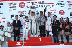 Podium: race winner Kazuki Nakajima, Team Tom's, second place Naoki Yamamoto, Team Mugen, third place Yuji Kunimoto, Cerumo Inging