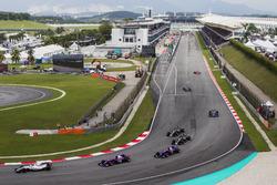 Установочный круг: Лэнс Стролл, Williams FW40, Карлос Сайнс-мл. и Пьер Гасли, Scuderia Toro Rosso STR12