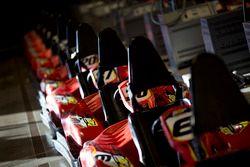 A line-up of karts