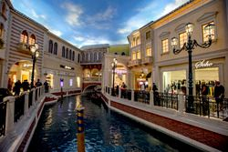 A canal and gondola between shops in Las Vegas