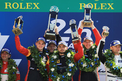 GTE AM podium: first place Robert Smith, Will Stevens, Dries Vanthoor, JMW Motorsport