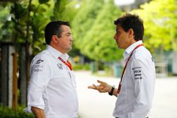 Eric Boullier, Racing Director, McLaren, talks, Toto Wolff, Executive Director Mercedes AMG F1