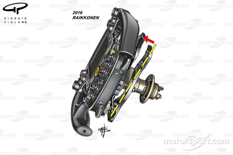 Ferrari SF16-H : vue de dos du volant de Kimi Räikkönen