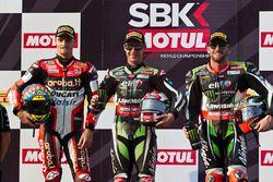 Podio: il vincitore della gara Jonathan Rea, Kawasaki Racing, il secondo classificato Chaz Davies, D