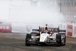 Sébastien Bourdais, Dale Coyne Racing Honda, celebrates his win with a burnout