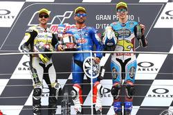 Podium: second place Thomas Luthi, CarXpert Interwetten, Race winner Mattia Pasini, Italtrans Racing