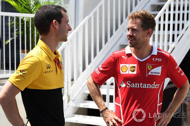 Sebastian Vettel, Ferrari y Remi Taffin, de Renault