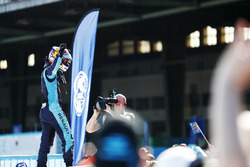 Sébastien Buemi, Renault e.Dams, celebrates in Parc Ferme after winning the race