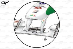 Force India VJM03 FOM camera housings moved between front wing pillars