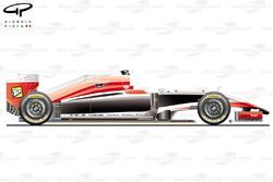Vue de côté de la Marussia MR03