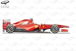 Vue latérale de la Ferrari 150° Italia, au lancement