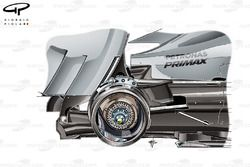 Mercedes W05 rear brake detail, note use of 4 pot caliper