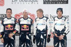 Podium: race winners Sébastien Ogier, Julien Ingrassia, M-Sport, third place Ott Tänak, Martin Järveoja, M-Sport