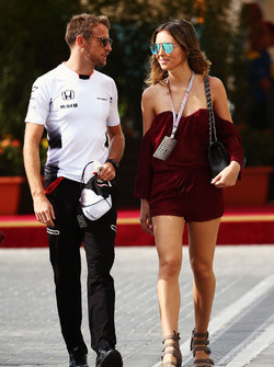 Jenson Button, McLaren with his girlfriend Brittny Ward