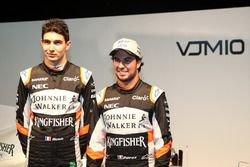 Esteban Ocon and Sergio Perez at the Sahara Force India launch