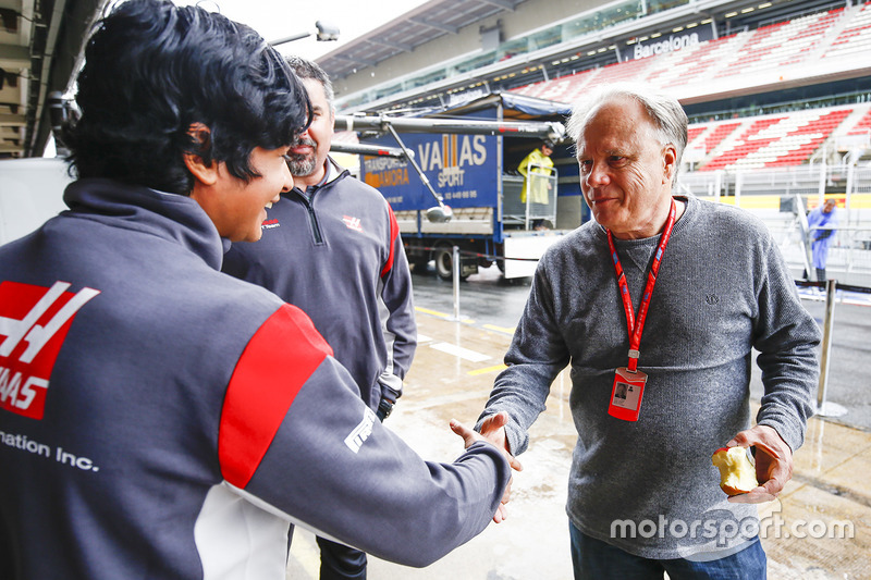 Arjun Maini, Development Driver, Haas F1 Team F1 Team, meets Gene Haas F1 Team, Owner and Founder, H