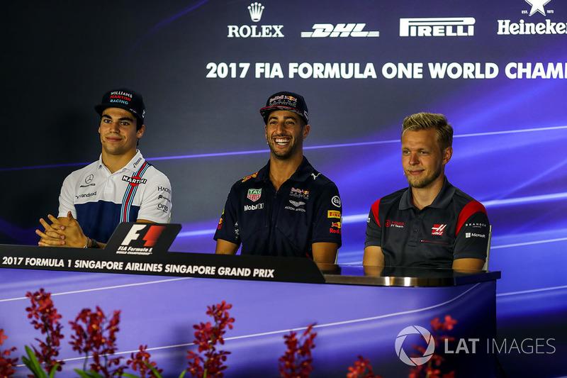 Lance Stroll, Williams, Daniel Ricciardo, Red Bull Racing e Kevin Magnussen, Haas F1 Team nella conferenza stampa