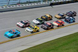 Aric Almirola, Biagi-DenBeste Racing, For; Joey Logano, Team Penske, Ford; Justin Allgaier, JR Motor