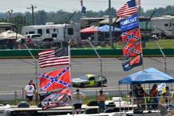 A general view of campers and flags in the infield