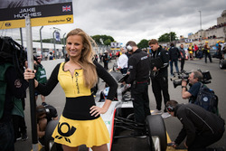Grid girl of Jake Hughes, Hitech Grand Prix, Dallara F317 - Mercedes-Benz
