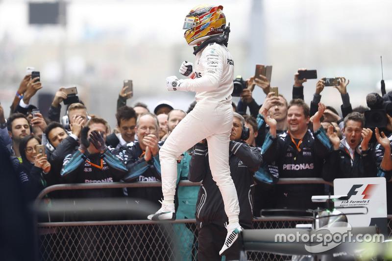 Lewis Hamilton, Mercedes AMG, celebrates in the parc ferme