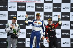 Podium: third place John Potter, Magnus Racing, first place James Sofronas, GMG Racing, second place Michael Schein, Wright Motorsports