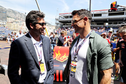 Patrick Dempsey, actor, talks with Dan Carter, rugby player