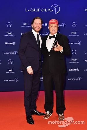 Niki Lauda, Mercedes Non-Executive Chairman with his Laureus lifetime achievement award