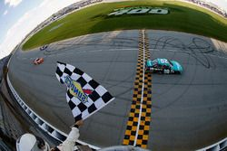 Erik Jones, Joe Gibbs Racing Toyota takes the checkered flag