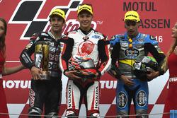 Podium: winner Takaaki Nakagami, Honda Team Asia, second place Johann Zarco, Ajo Motorsport, third place Franco Morbidelli, Marc VDS