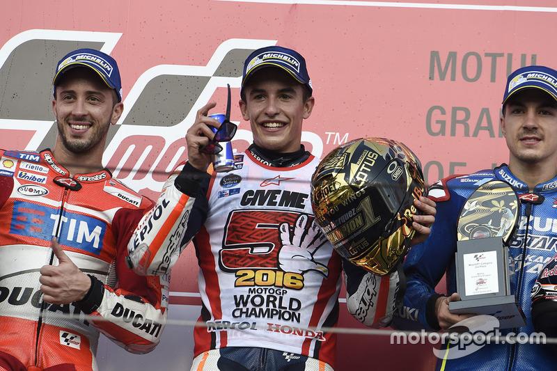 Podium: 1. Marc Marquez, Repsol Honda Team; 2. Andrea Dovizioso, Ducati Team; 3. Maverick Viñales, T