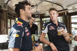 Daniel Ricciardo and Daniil Kvyat enjoy their aperitivo on the historical tram of Milano